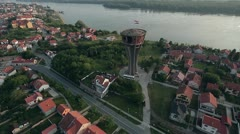 Vukovar water tower aerial 02 Stock Footage
