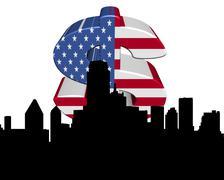 dallas skyline with american flag dollar symbol illustration - stock illustration