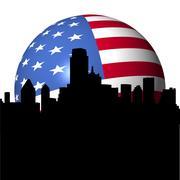 dallas skyline with american flag sphere illustration - stock illustration