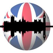 Houses of parliament london with british flag sphere illustration Stock Illustration