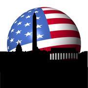 Washington dc skyline with american flag sphere illustration Stock Illustration
