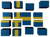 Swedish flag on cubes against white illustration Stock Illustration