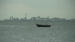 Lonely Fishing Boat Near Pattaya City Thailand Stock Footage