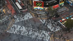 Spectacular Time Lapse Tokyo Aerial View Shibuya Crossing Famous Landmark Icon Stock Footage