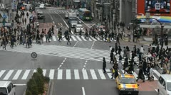 Aerial View Shibuya Crossing Tokyo Day Traffic Crowd Daily Commuters People Walk Stock Footage