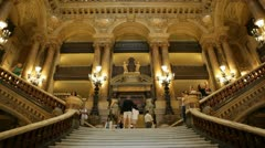 Grand staircase in Garnier Opera Stock Footage
