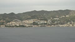 Coast of Sicily Messina town medium wide, dolly Stock Footage