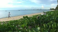 Asian Man Walks Down Beautiful Beach Near Pattaya Thailand Stock Footage