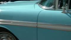 Baby Blue Classic Car Pan Stock Footage