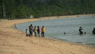 Thai Families Hanging On The Beach In Sattahip Stock Footage