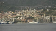 Coast of Sicily Messina town, boats in harbor, dolly Stock Footage
