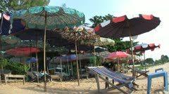 Colorful Beach Chairs And Umbrellas In Sattahip Thailand Stock Footage