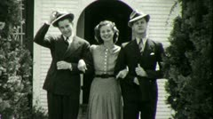Sister and Two Brothers Gangsters 1940s 1930s Vintage Retro Film Home Movie 5770 Stock Footage