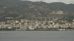 Coast of Sicily Messina town, highway aqueduct in BG, dolly Stock Footage