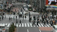 Aerial View Shibuya Crossing Tokyo Tokio Japan Traffic Anonymous Crowds Shopping - stock footage