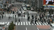 Aerial View Shibuya Crossing Tokyo Tokio Japan Traffic Anonymous Crowds Shopping Stock Footage