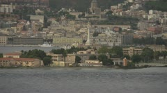 Coast of Sicily Messina harbour medium long shot, dolly Stock Footage
