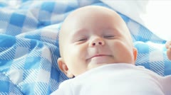 Close Up Happy Caucasian Baby Stock Footage