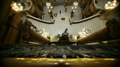 Grand Staircase in Garnier Opera in Paris Stock Footage