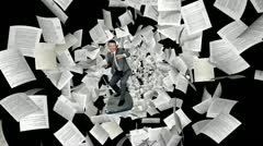 Businessman surfing with Documents flying towards the screen, Alpha Channel Stock Footage