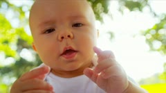Head Shoulders Smiling Blonde Baby Girl Outdoors Stock Footage