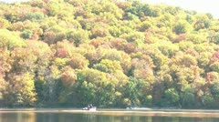 Boat Ride on Lake in Fall Season Stock Footage