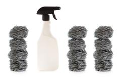 domestic cleaning products isolated - stock photo