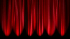 Red Curtains open, white background Stock Footage