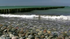Wooden Groynes and Waves - Baltic Sea, Northern Germany Stock Footage