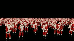 Santa Claus Crowd Dancing, Christmas Party cam fly over, Alpha Channel Stock Footage