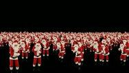 Stock Video Footage of Santa Claus Crowd Dancing, Christmas Party cam fly over, Alpha Channel