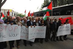 Stock Photo of Anti war demonstration supporting Gaza in Nazareth Israel