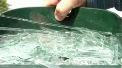 Broken Glass in Dustpan Emptied - stock footage