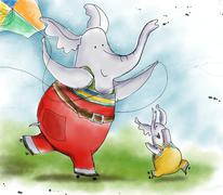 elephant and his son fly a kite - stock illustration