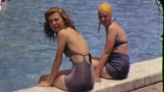 BATHING SUIT Young GIRLS Teenage Pool Summer 50s Vintage Film Home Movie 5780 Stock Footage