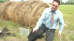 Business Guy's Foot Stuck in Hole Stock Footage