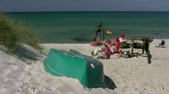 Fishing Boat on Beautiful Beach on Darss Peninsula - Baltic Sea, Germany Stock Footage