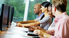 Multi Ethnic Students Attending IT Course Stock Footage