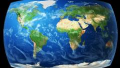 Realistic World Map Wraps to Globe (loop on black) Stock Footage