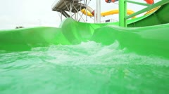 Children on Water Chutes Theme Park Stock Footage