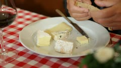 French cheese on plate Stock Footage