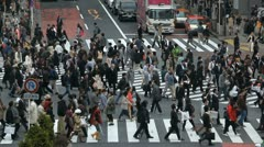Shibuya Crossing Pedestrians Passing People Walking Crowd Commuter Commute Tokyo Stock Footage