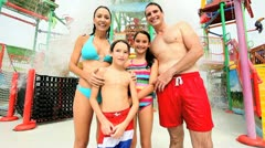 Portrait Family Enjoying Water Theme Park Stock Footage