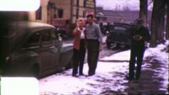 WINTERS DAY LOVING COUPLE 1940s (Vintage Retro Home Movie Footage) 5788 Stock Footage