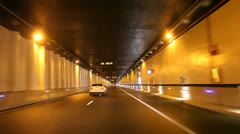 Driving through a highway tunnel Stock Footage