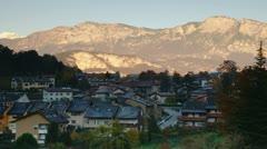 Morning in Italian village, Alps, Dolomiti Stock Footage