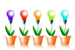 Growing energy light bulbs. Stock Illustration