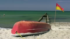 Red Boat on the Beach on Darss Peninsula - Baltic Sea, Northern Germany - stock footage