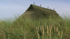 Thatched-Roof House on the Beach - Baltic Sea, Northern Germany Stock Footage
