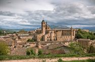 Stock Photo of old urbino, italy, cityscape at dull day